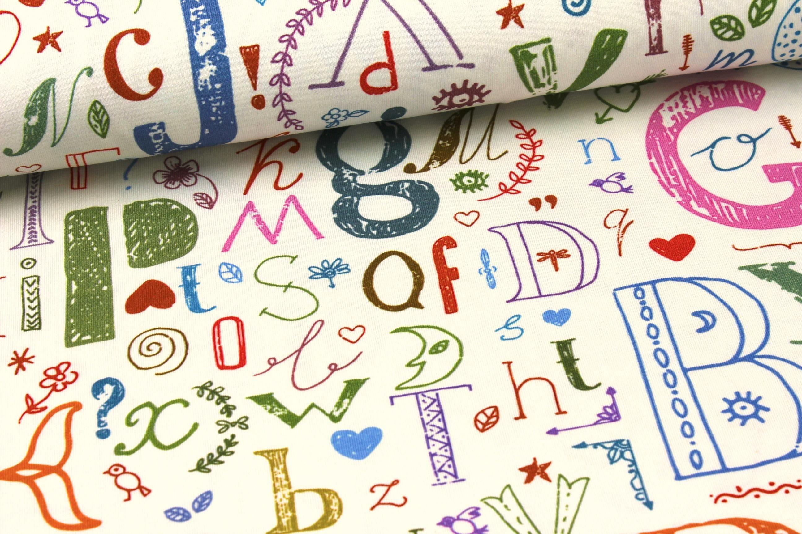 Jersey - bunte Buchstaben - Digitaldruck auf alles-fuer ...
