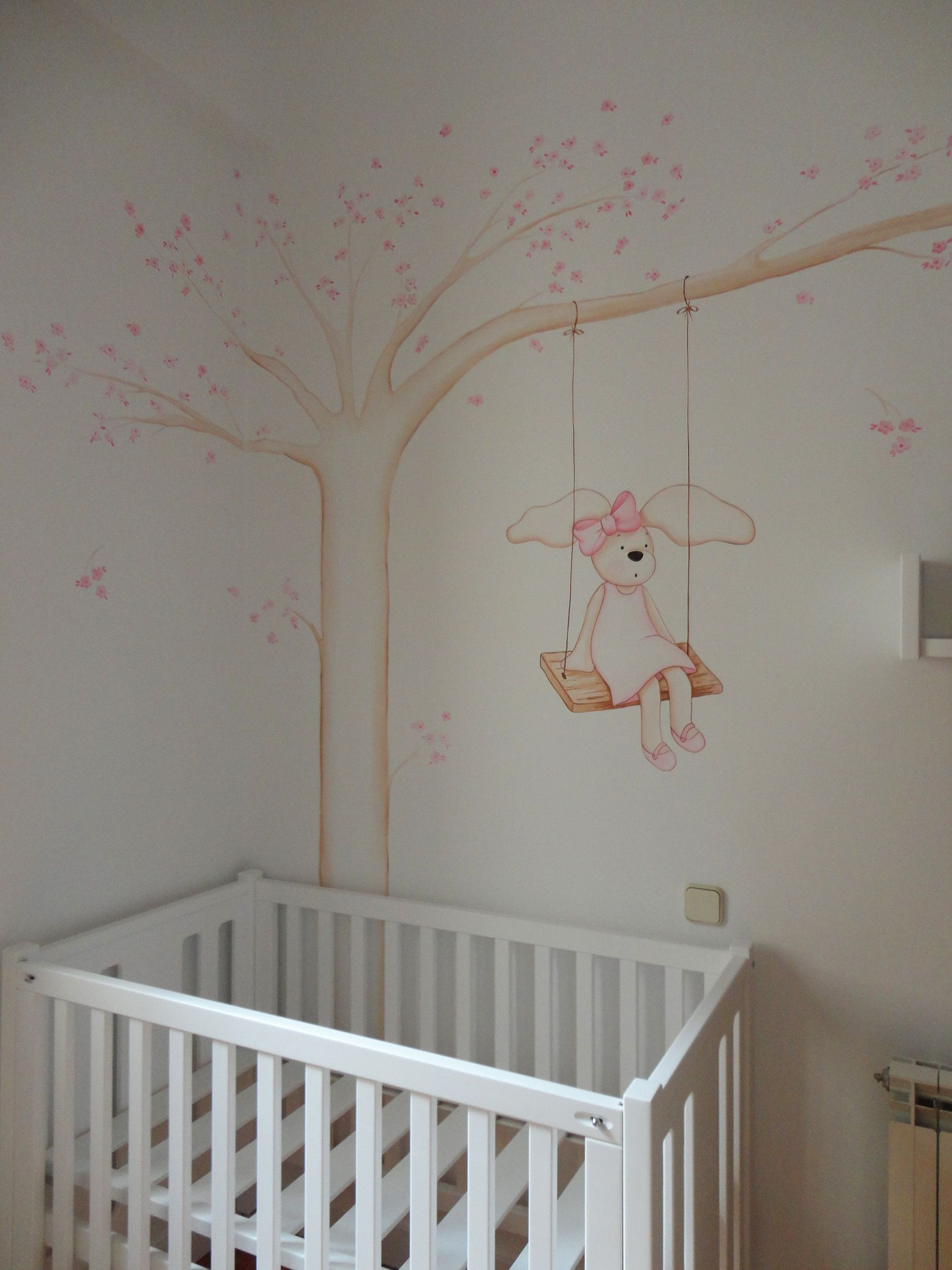 Arbol pintado en la pared para bebes murales infantiles for Decoracion pared bebes