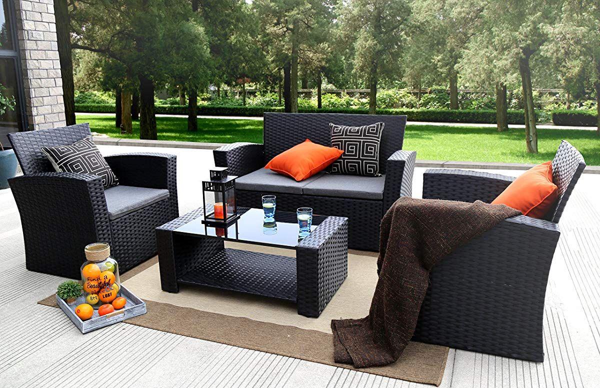 Baner Garden N87 4 Pieces Outdoor Furniture Complete Patio