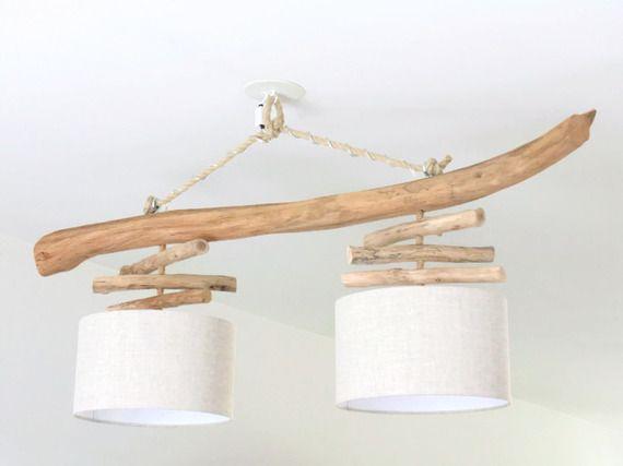 Lustre en bois flotté - Lin 30 cm - double suspension - Led