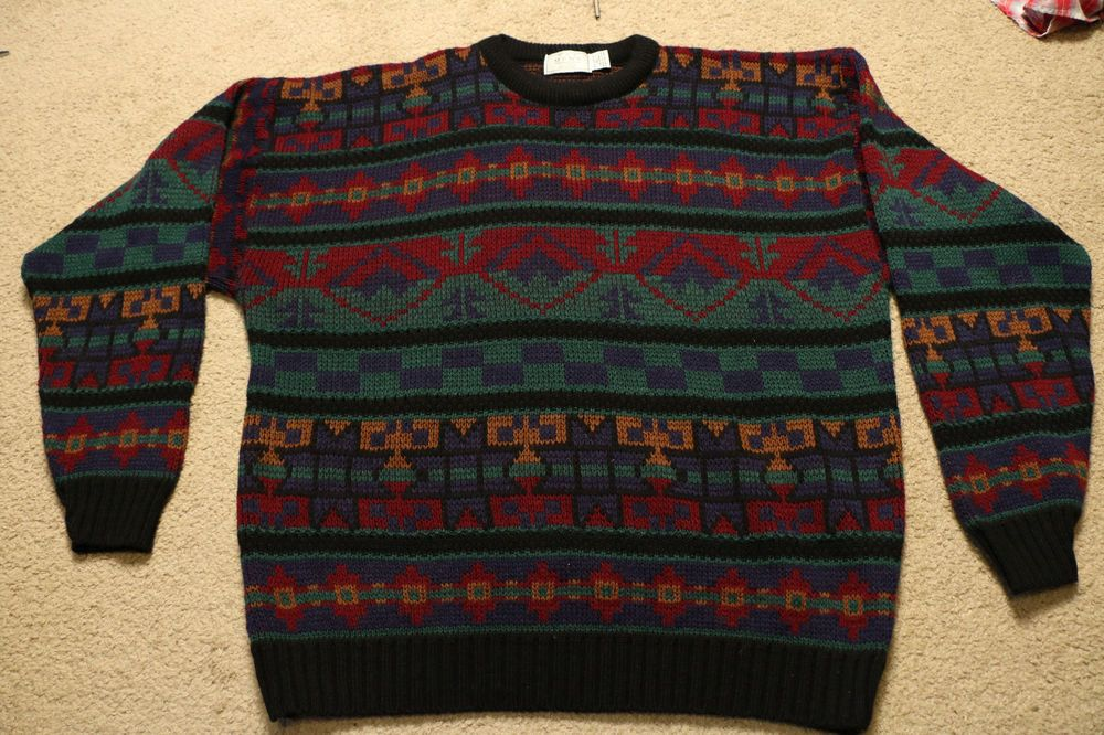 Vintage 80s 90s Sears Mens Store Cosby Sweater Xl Multi Color Ugly
