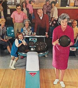Fun For All Ages Detail From 1961 Amf Bowling Ad Combining The Cat S Favorites Old People And Bowling Amf Bowling Bowling Cat Pajamas