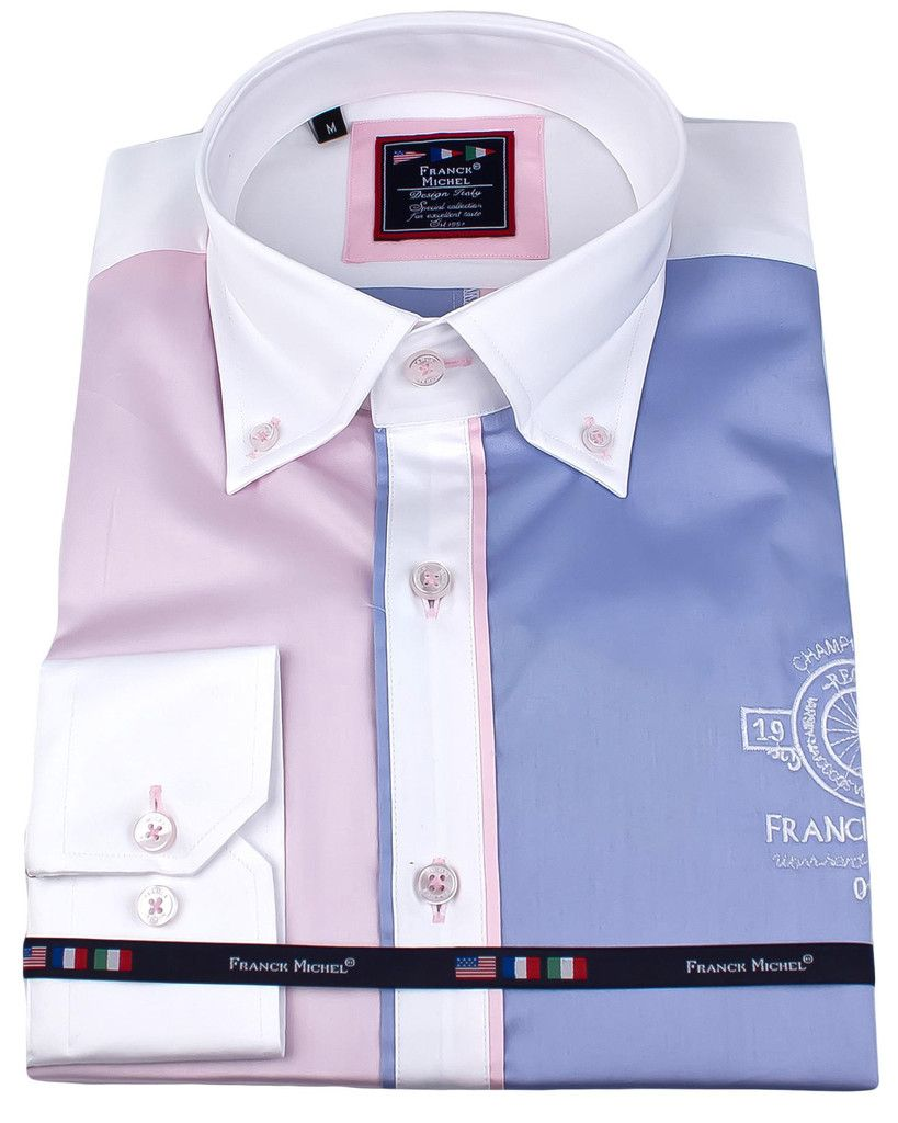 Men's designer shirts - Marina pink blue   UrUNIQUE.com