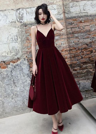 Simple burgundy tea Length prom dress, burgundy bridesmaid dress cg1619 3
