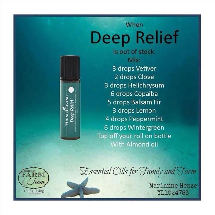 Deep Relief Recipe - use as a master blend  Put 3-5 drops of