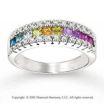 14k white gold rainbow gemstone 16 carat diamond ring - Rainbow Wedding Rings