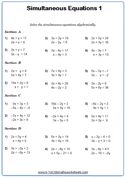 Solving Simultaneous Equations A Maths Worksheet and
