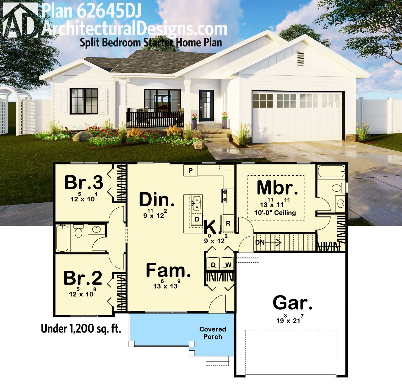 Plan 62645dj Split Bedroom Starter Home Plan Starter Home Plans House Plans Dream House Plans