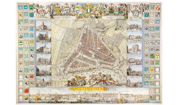 The Atlas de Vou, produced by Johannes and Romeijn de Hooghe in 1694, was the largest plan of Rotterdam in the Netherlands at that time (Dan...