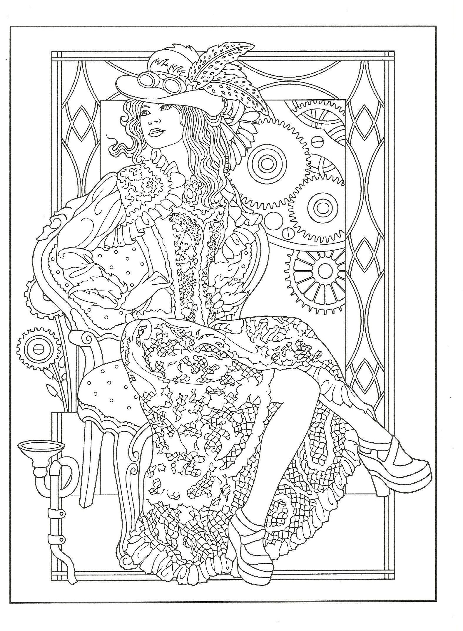 Steampunk Coloring From Creative Haven Steampunk Fashions Coloring Book Dover Publications Steampunk Coloring Coloring Pages Fashion Coloring Book