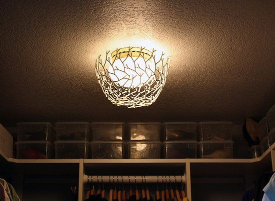 Cool Idea: A Branch Bowl Chandelier | Awesome, Picture ideas and ...:DIY Ceiling Light Fixture - cover existing light dome with a branch bowl!,Lighting