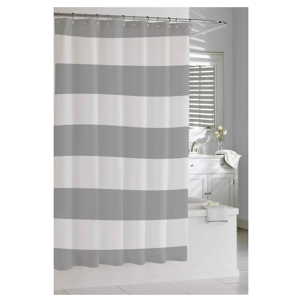 Kassatex Hampton Stripe Shower Curtain Grey Striped Shower Curtains Gray Shower Curtains Grey Bathrooms