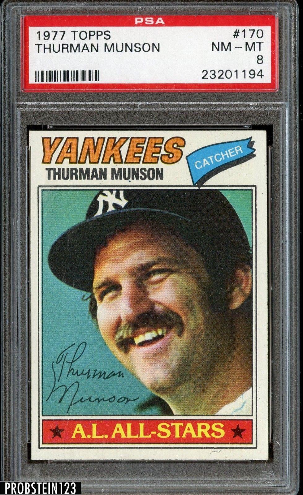 1977 topps 170 thurman munson new york yankees psa 8 nm