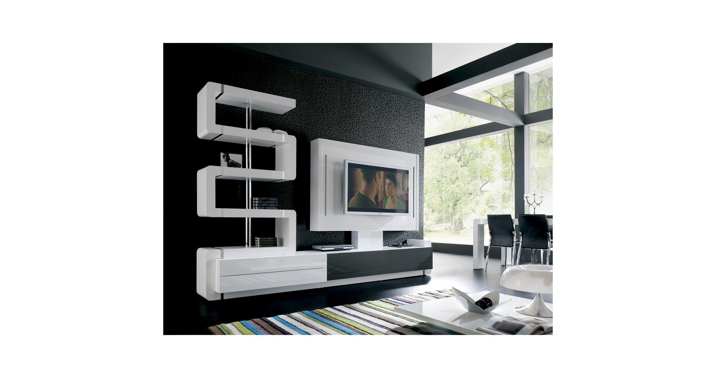 mueble de tv 200 modular lacado blanco brillo brillo blanco muebles