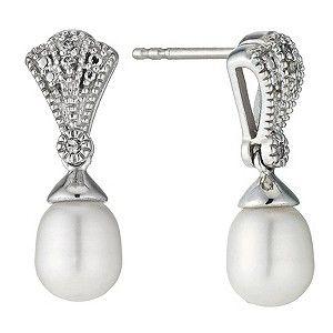 Sterling Silver Diamond Freshwater Pearl Fan Drop Earrings Product Number 9524460
