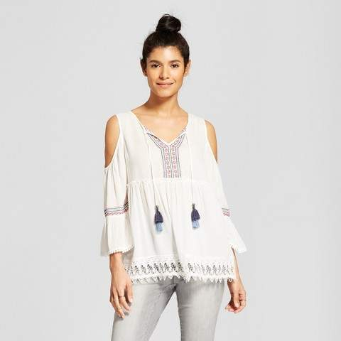 4ac6b7d229bef Knox Rose Women s 3 4 Sleeve Embroidered Cold Shoulder Top - Knox Rose White