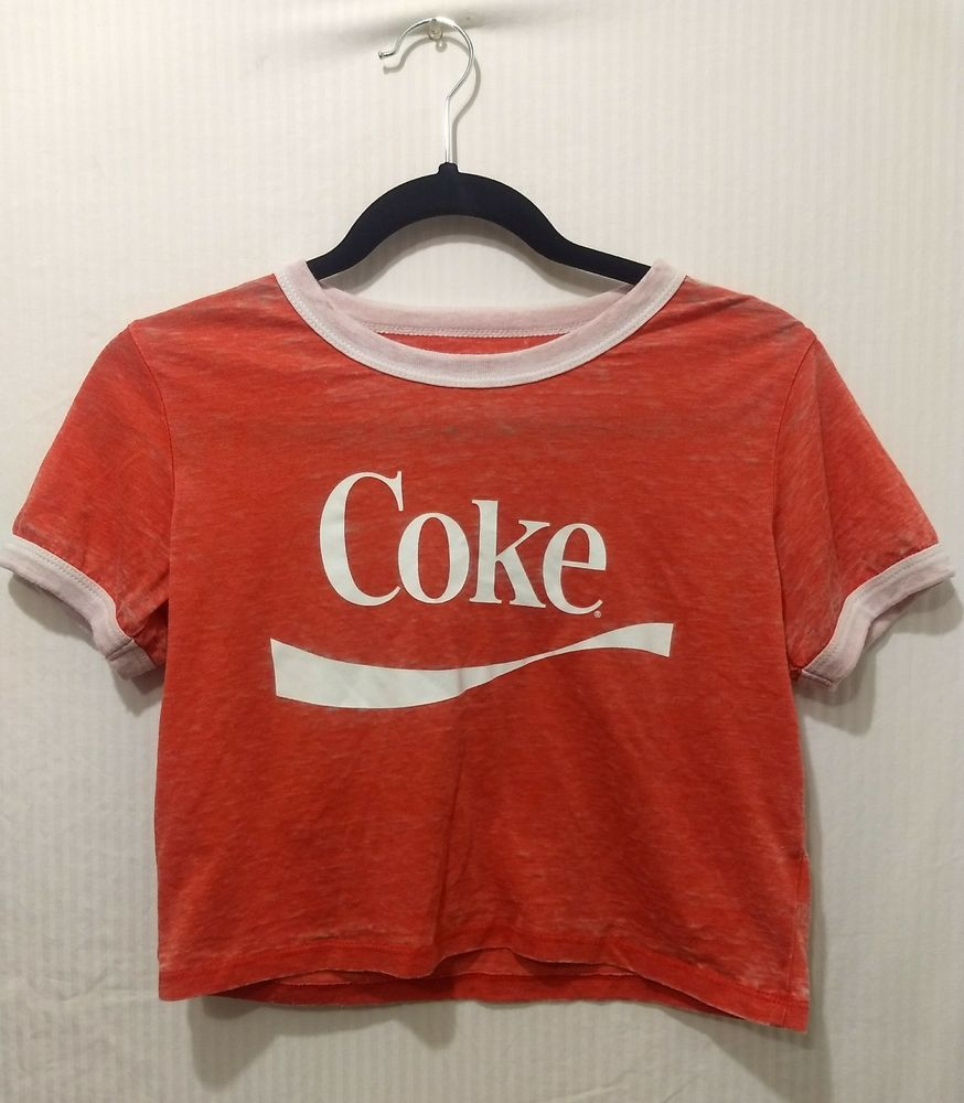 45d0d120cd7 Women COCA-COLA COMPANY Red distress Burnout Crop top Tee Size Medium   fashion  clothing  shoes  accessories  womensclothing  tops (ebay link)