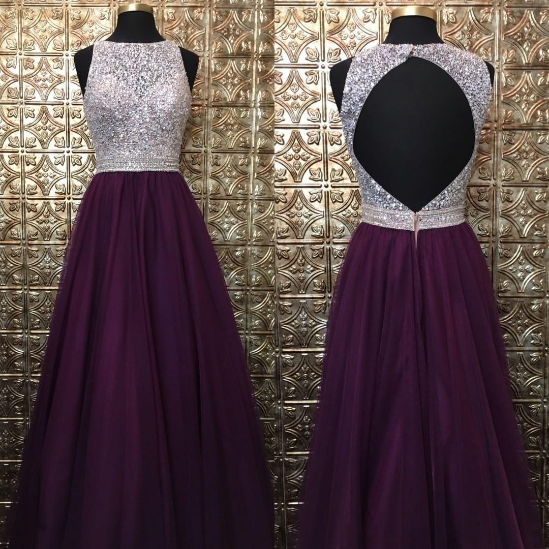 D grape prom dresslong tulle prom dressesbeaded prom prom