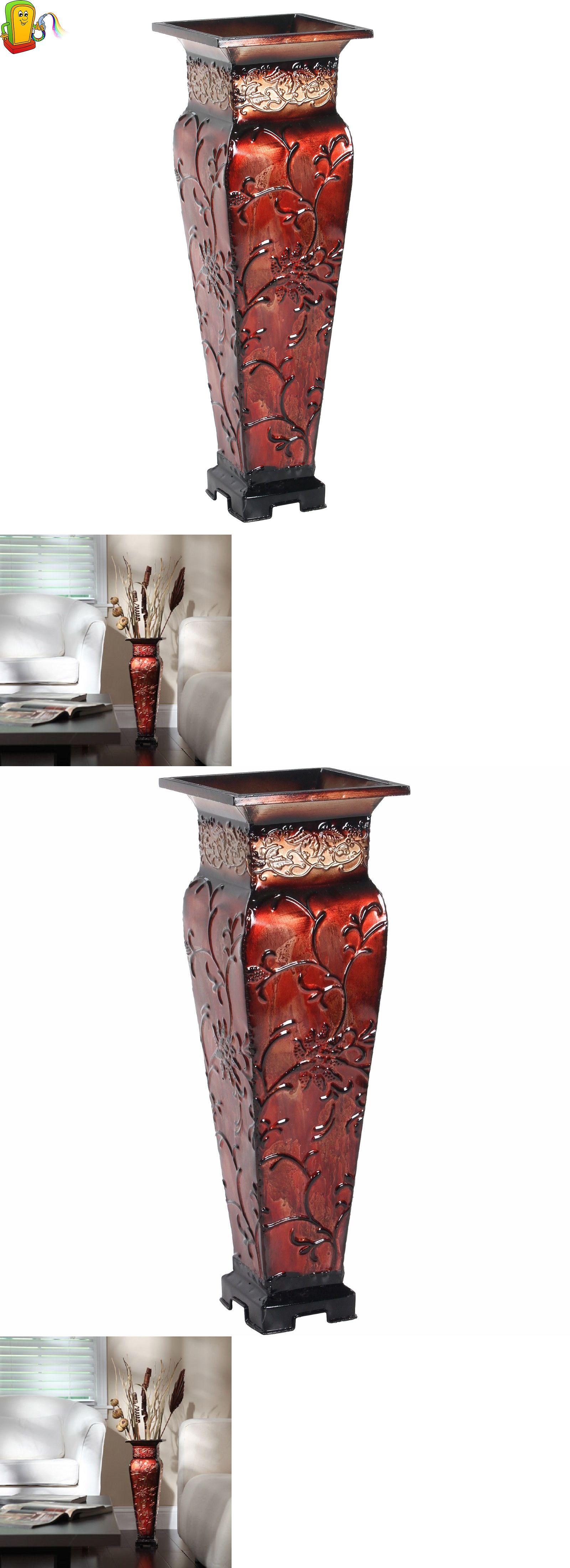 Vases 101415 metal square floor vase small decorative red gold vases 101415 metal square floor vase small decorative red gold floral display elegant decor reviewsmspy