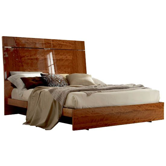 Sedona queen bed with LED lights in high-gloss cherry (without