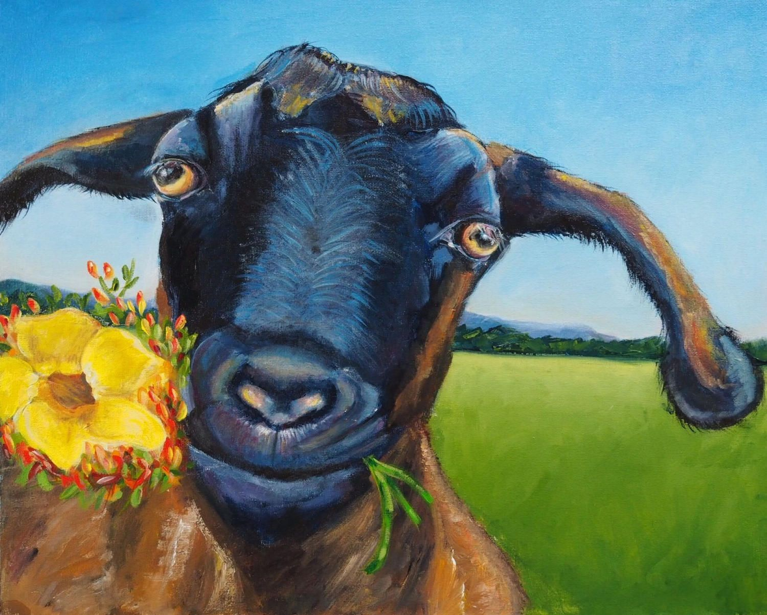 Goat Painting ORIGINAL Artwork Quirky Animal Art Home Decor Wall Art 30cm  X40cm By BrightEyesByOpal On