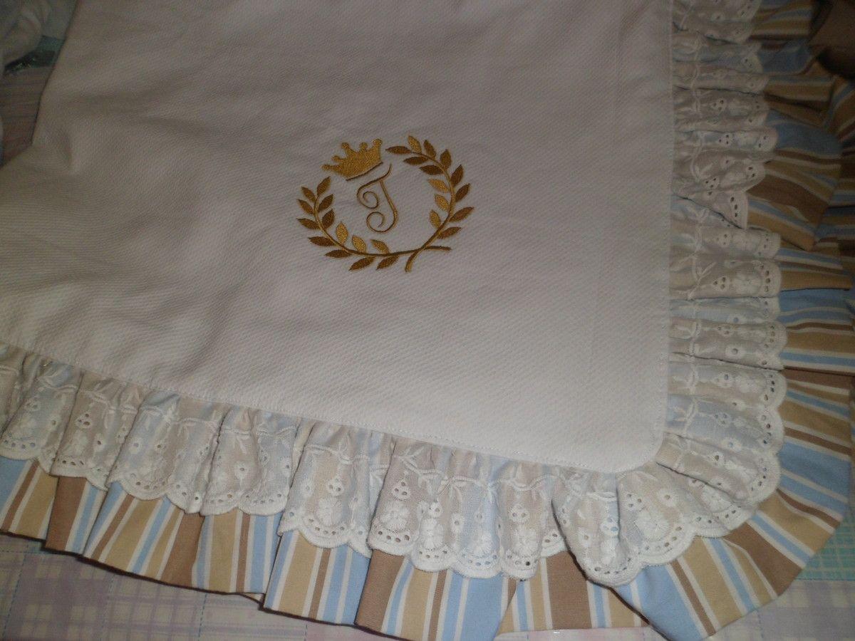 Manta para bebê  feita em piquet, com tira bordada, bordado vários temas a escolha