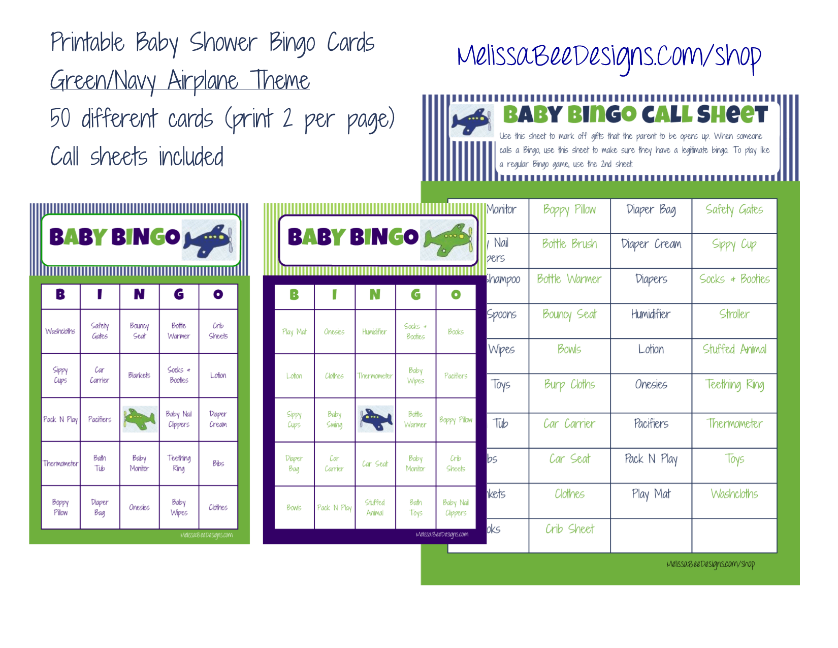 Printable Baby Shower Bingo Boy Game Green Navy