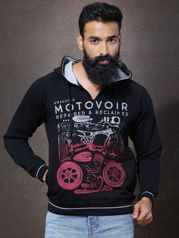 Buy Roadster Black Printed Hooded Sweatshirt - Sweatshirts for Men ... ddb1adffa6f0