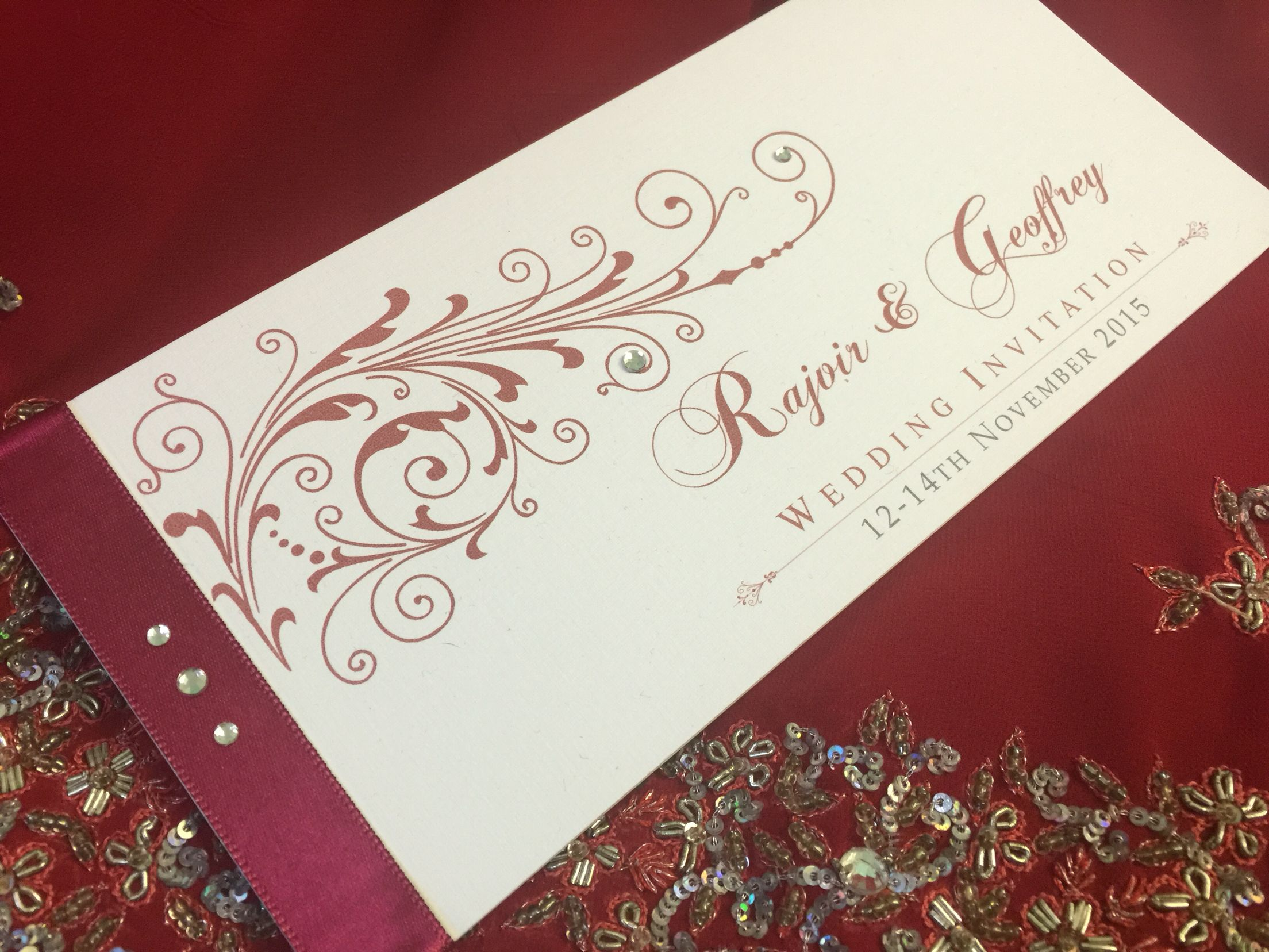 Red hot Indian chequebook bespoke wedding invitation with satin ...