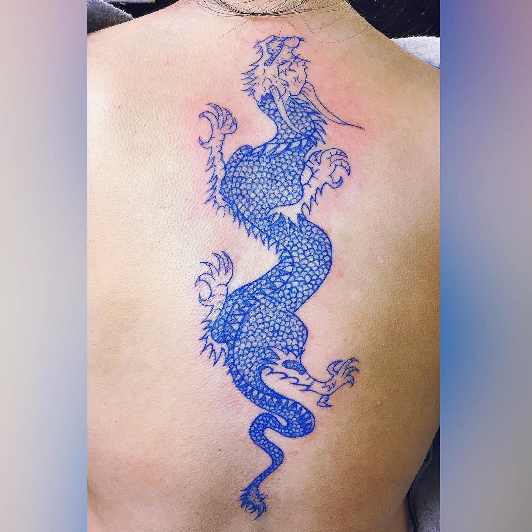 Blue Dragon Back Piece Tattoo Tattoo Ideas And Inspiration Red
