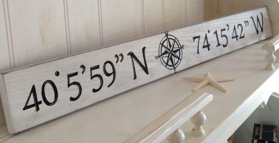 Photo of Latitude and Longitude Wood Sign, Nautical Coordinates Wood Sign, Handpainted Longitude and Latitude Sign, Nautical Handpainted Wood Sign