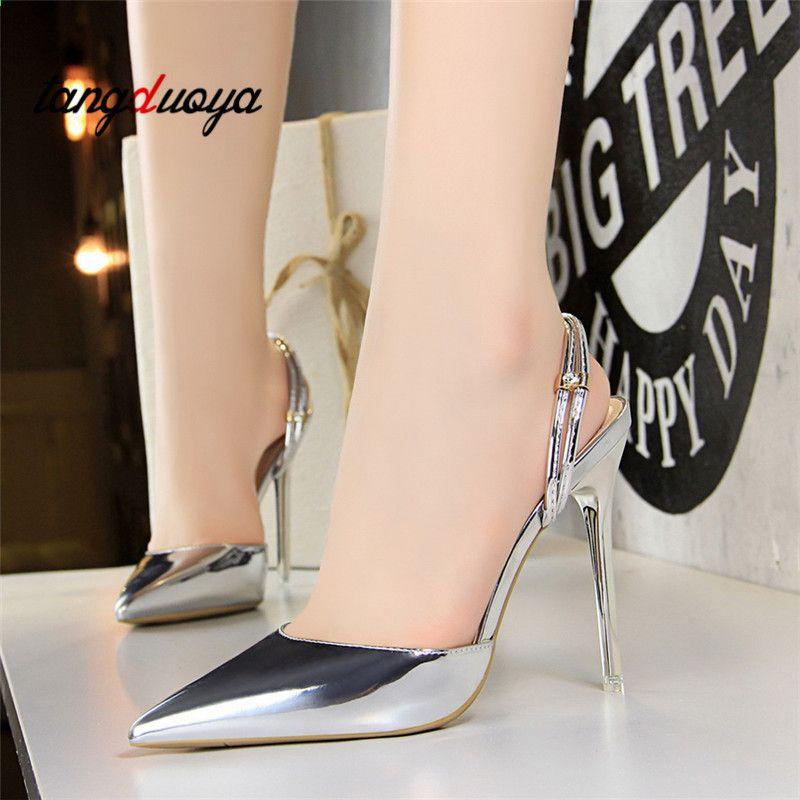 2018 Obcasy Buty Damskie Sandaly Letnie Buty Pasek Na Kostke Kobiety Letnie Szpilki Sandaly Party Dress Stiletto Heels Stiletto Shoes