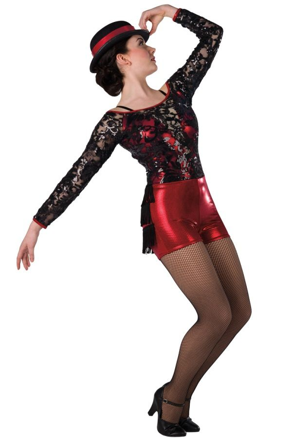 7771e90d0ace Style # 17264 LIFE'S A CABARET Red foil printed spandex short unitard with  sequined black lace overlay and sleeves, nude spandex insert and adjustable  black ...