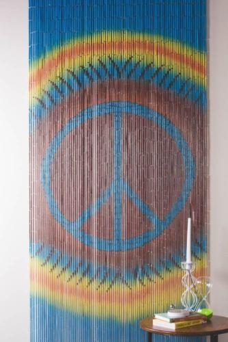 Bamboo Tie Dye Peace Sign Beaded Curtain Boho Bohemian