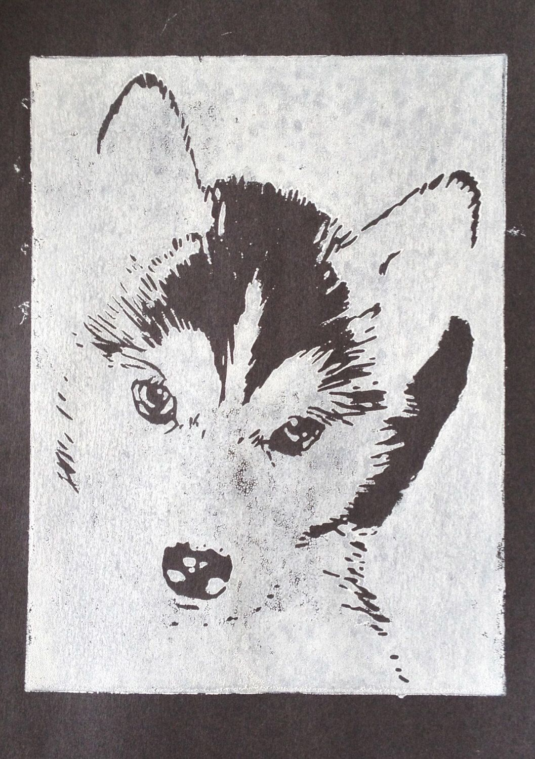 Beautiful A5 Linocut Print Of A Husky Dog Puppy By Gloriouslygirly