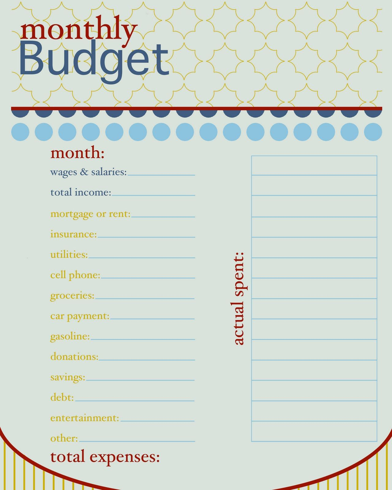 Free Monthly Budget Printable  Tidy Home    Monthly