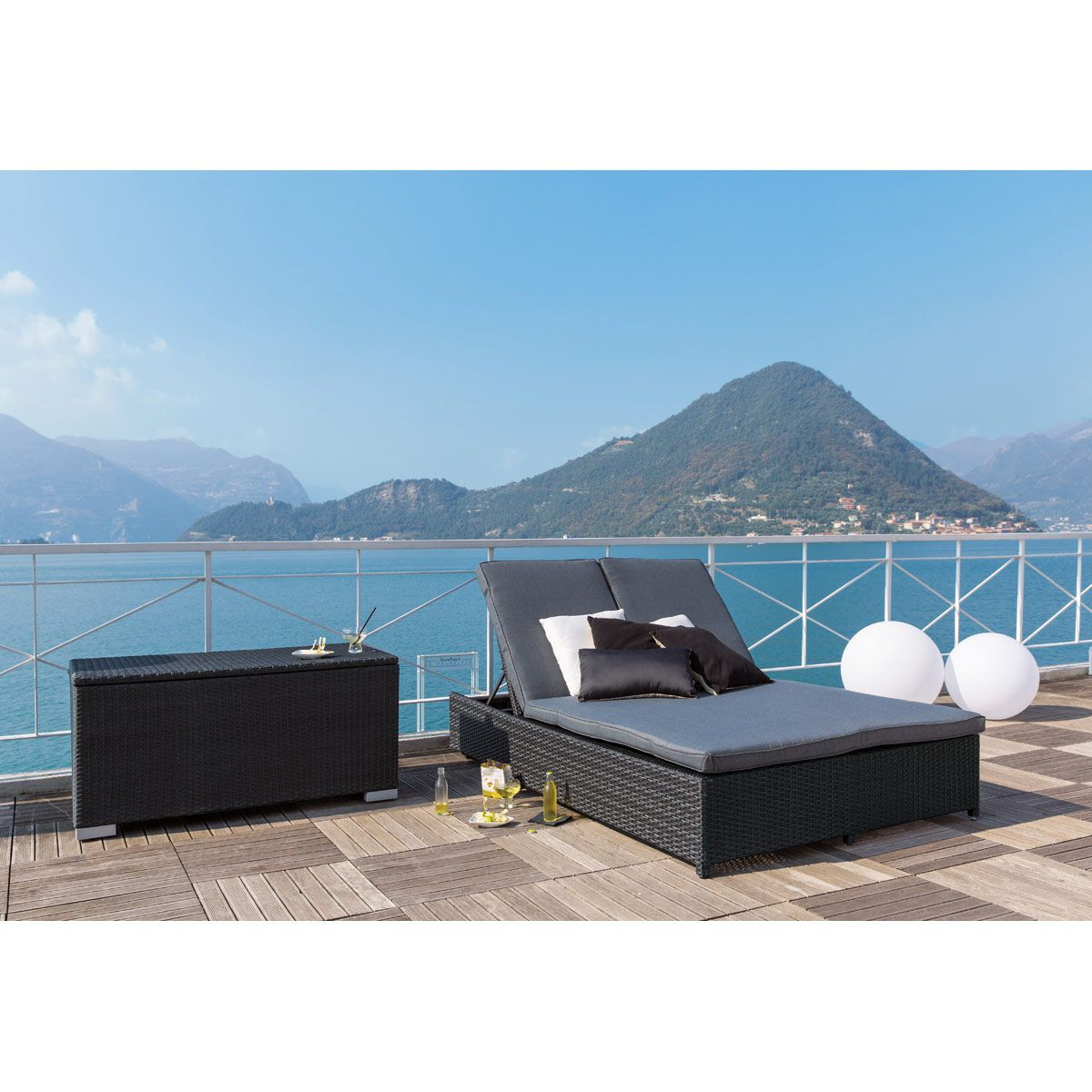 coffre en aluminium noir l 120 cm bain de soleil double. Black Bedroom Furniture Sets. Home Design Ideas