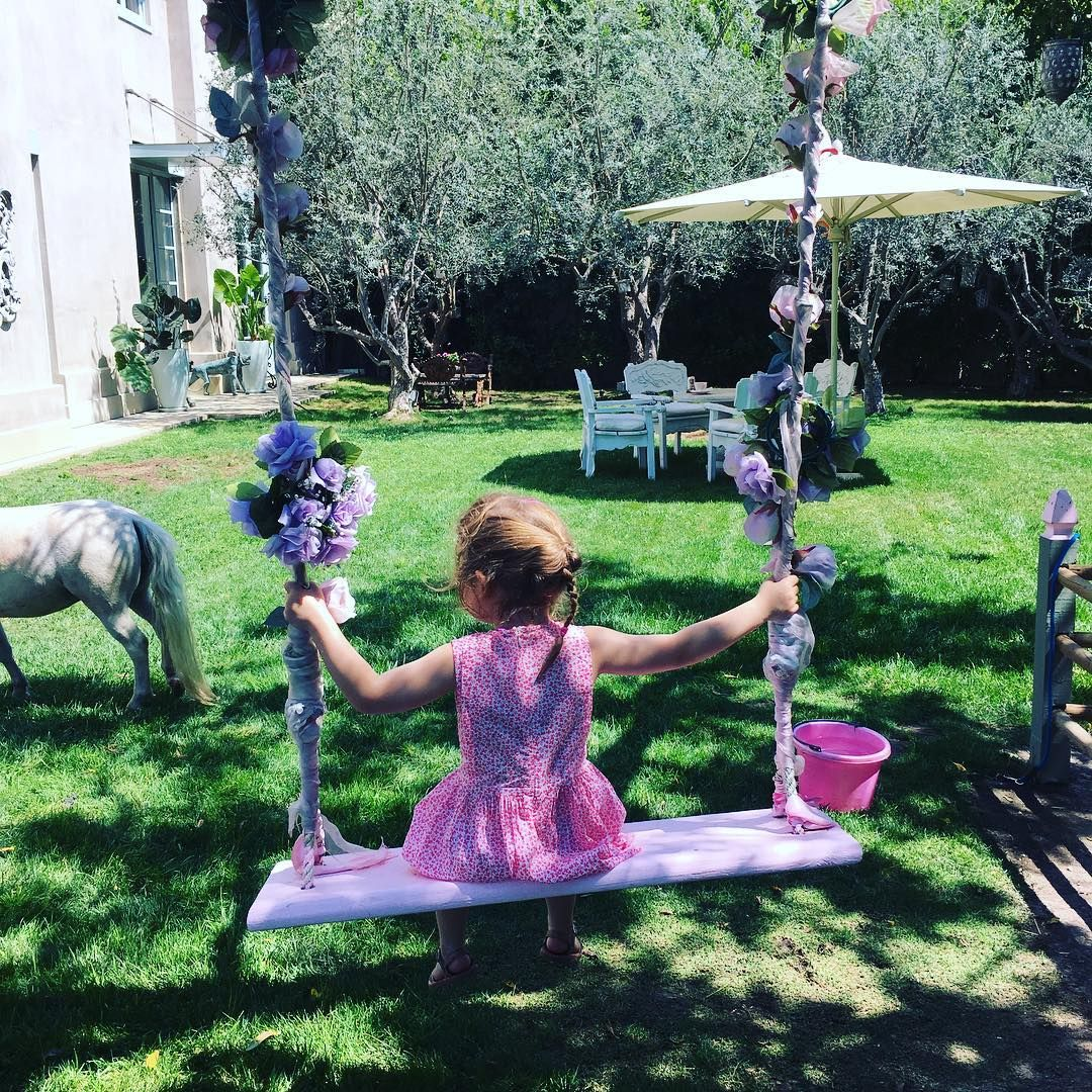 My baby girl hanging at Villa Rosa with my friend @lisavanderpump #pinkparadise #pony #sunday #family #relax #summer