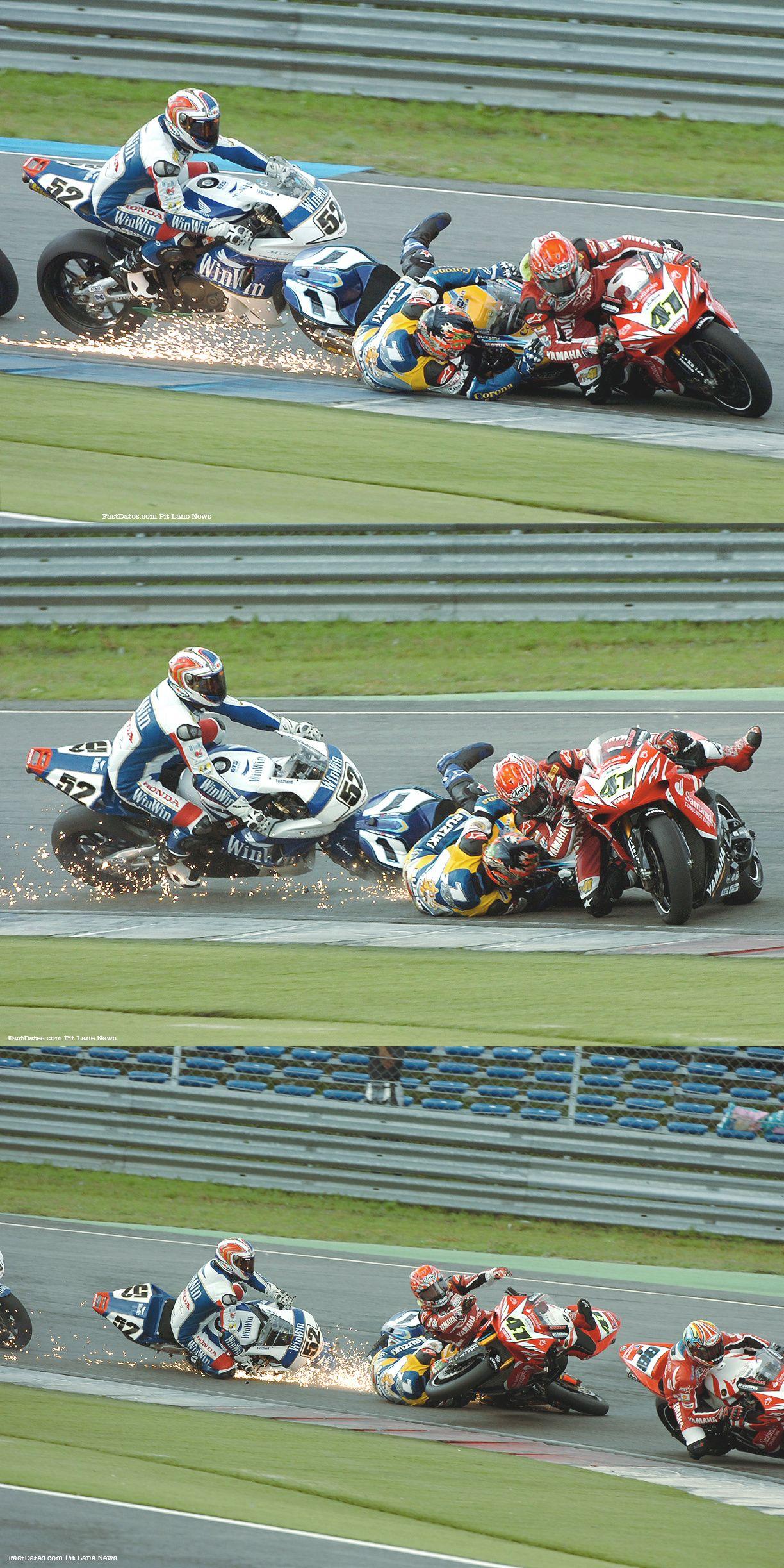 Assen 2006 Race 2 Haga Corser Toseland crash [credits