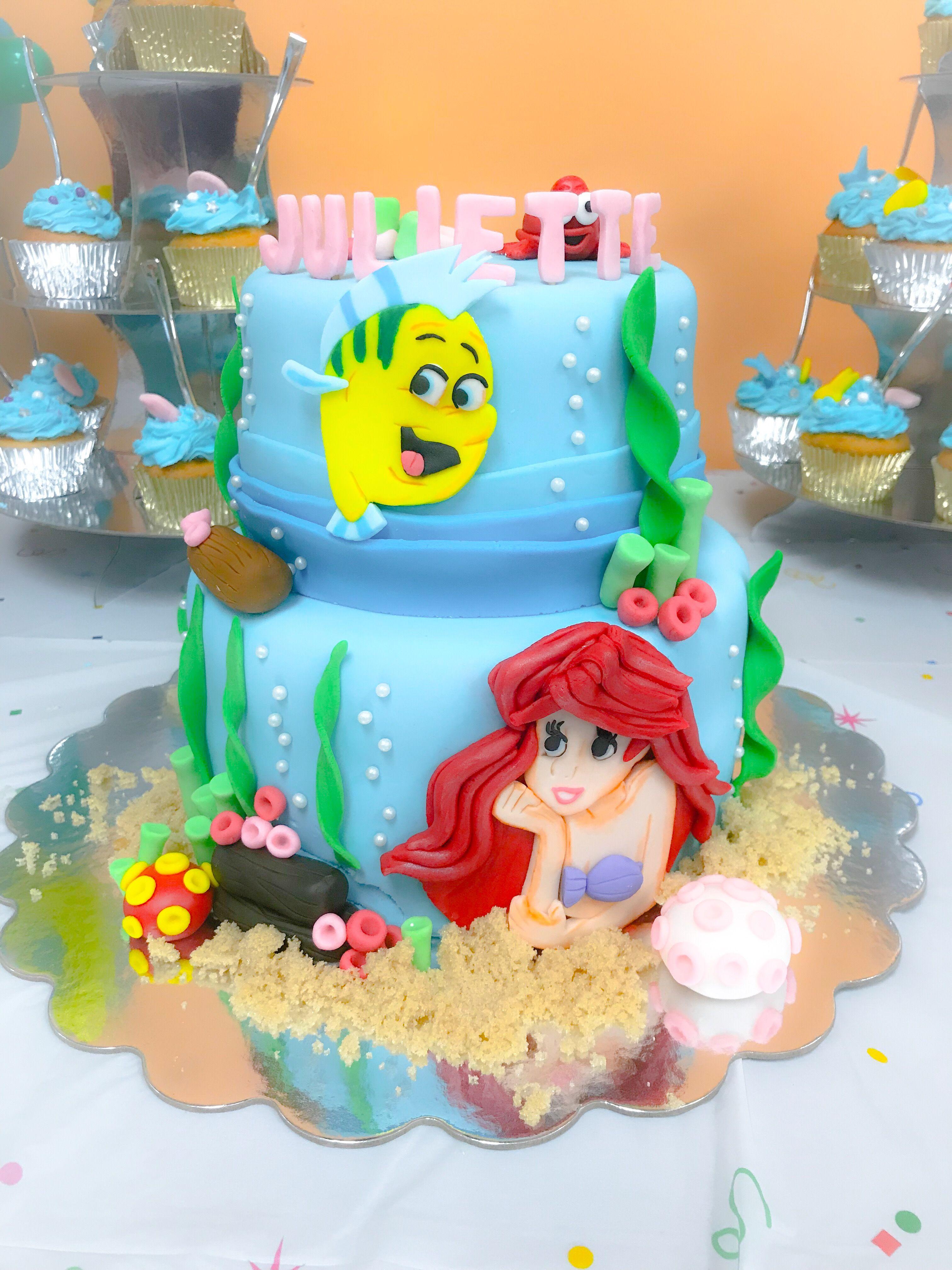 Disney ariel birthday cake fondant princess ariel cake