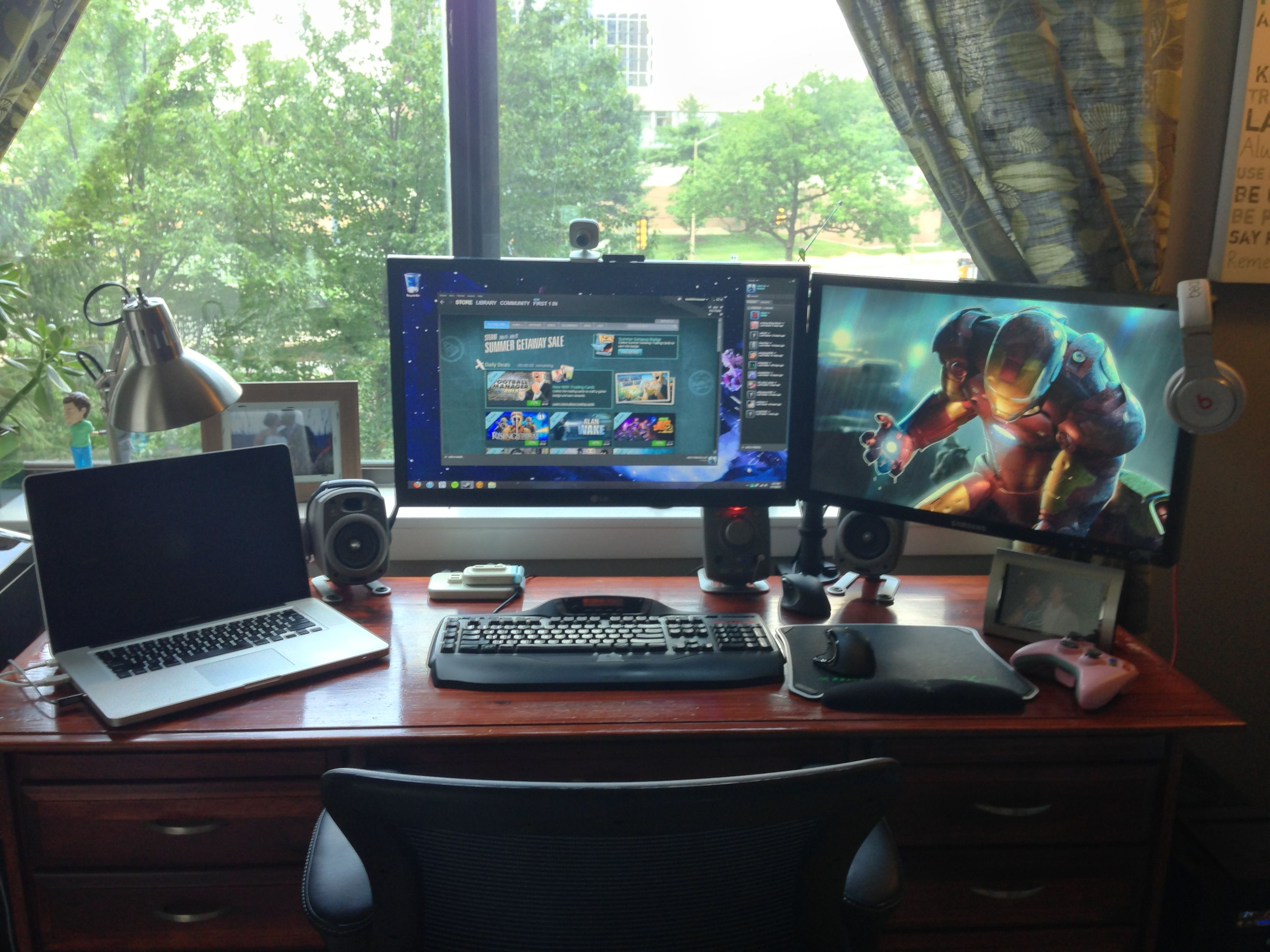 Home Office Dual Desk Setup: Revised Setup Using A Dual Monitor Stand To Regain Desktop