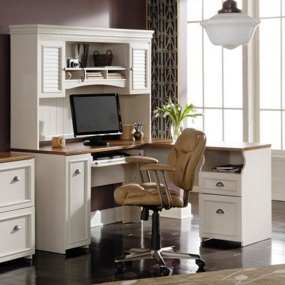 Bush Fairview L-Shaped Computer Desk with Optional Hutch - Antique White - Bush Fairview L-Shaped Computer Desk With Optional Hutch - Antique