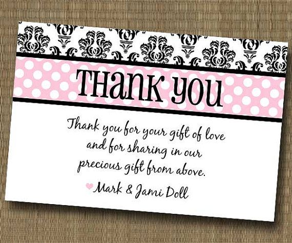 Damask Shabby Chic Thank You Card - Baby Shower Bridal Shower ...