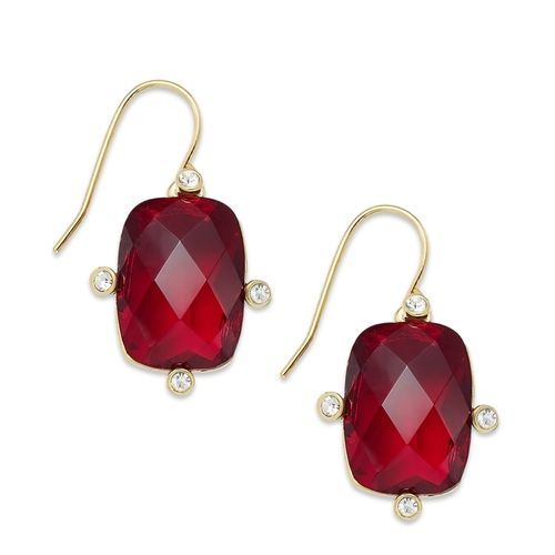 Lauren Ralph Lauren Gold-Tone Red Stone and Crystal Drop Earrings from Macy's on Catalog Spree