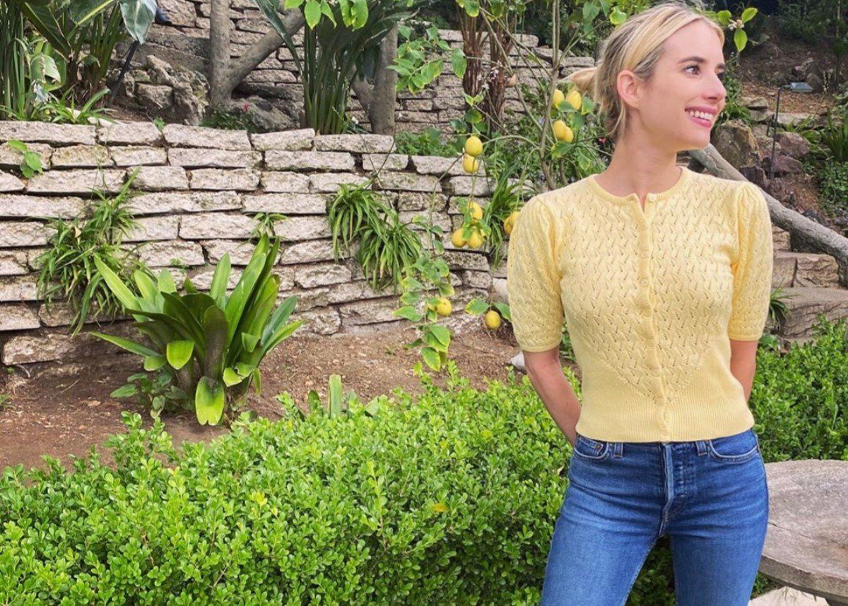 Emma Roberts  Fashionably Self Isolates In Happy Yellow Musier Paris Cardigan #EmmaRoberts, #MusierParis celebrityinsider.org #Entertainment #celebrityinsider #celebritynews #celebrities #celebrity