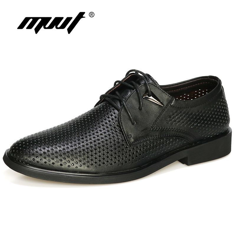 3655390e6951 Plus size 38-47 Genuine Leather Shoes Men Oxford Breathable Hollow ...