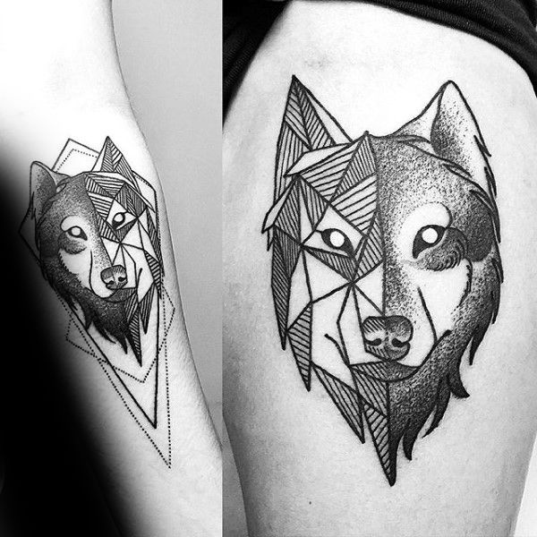 90 Geometric Loup Tattoo Designs For Men Idees Manly Encre