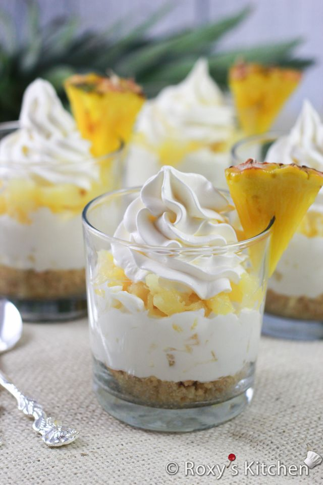 5-Ingredient No-Bake Pineapple Cheesecakes in a Cup - Roxy's Kitchen (no bake desserts in a cup)