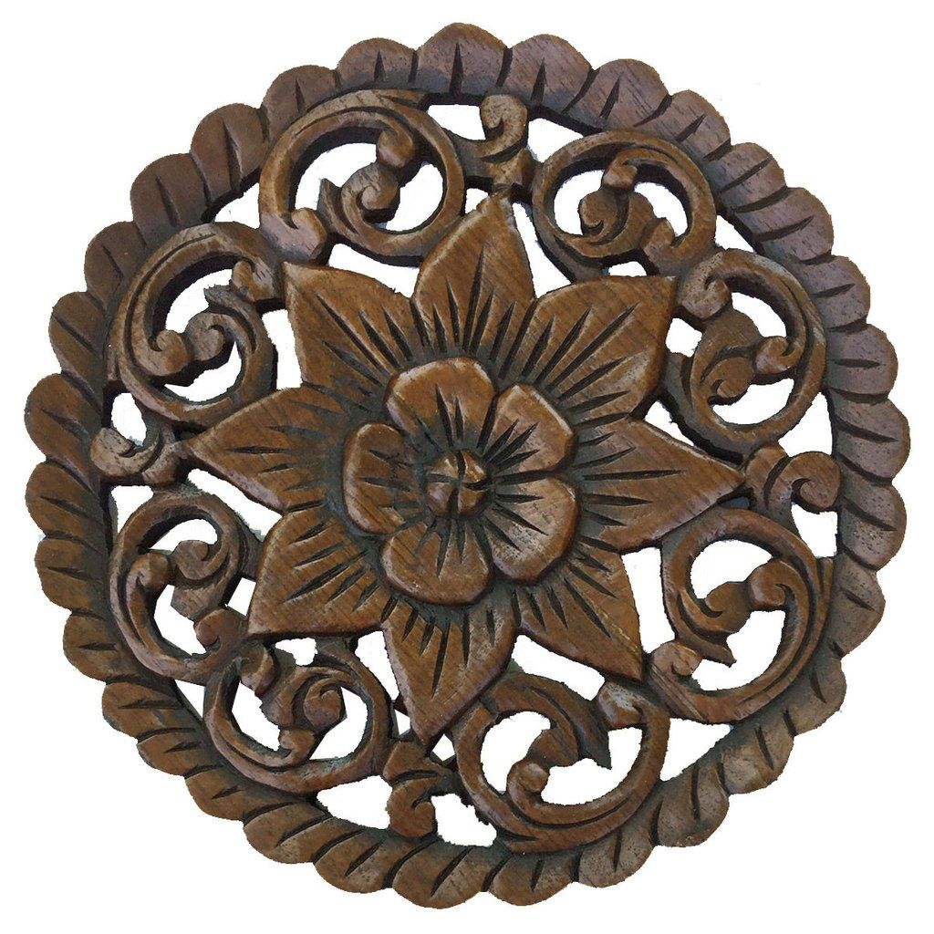Wood wall plaque round wall art carved wood wall decor floral wood wall plaque round wall art carved wood wall decor floral design wall amipublicfo Gallery