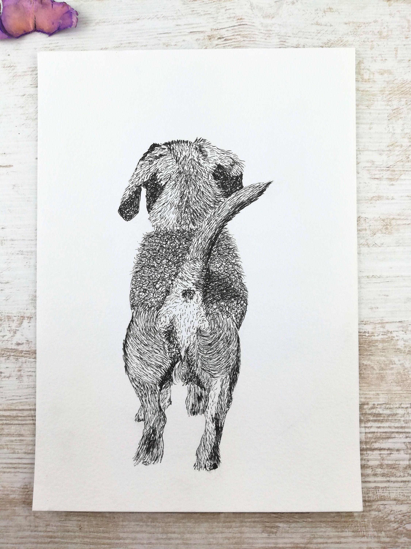 Handzeichnung Fineliner-Zeichnung Auf und davon  Hund | Etsy